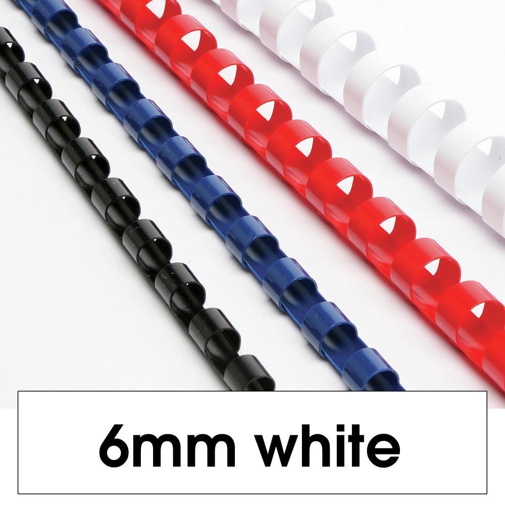 REXEL BINDING COMB 6mm 21Loop 25Sht Cap White Pack of 100