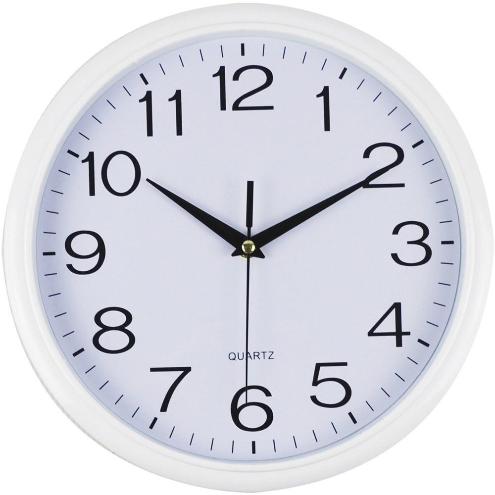 ITALPLAST WALL CLOCK 30cm White Frame/White Face