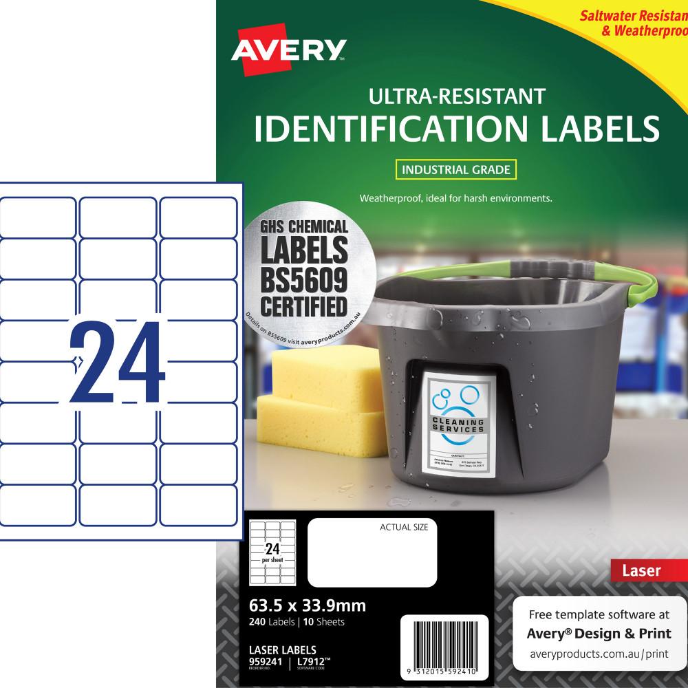 Avery 959241 Ultra Heavy Duty Industrial Labels White L7912