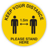 Durus Health And Safety Sign Floor Sign Social Distance 1.5m Yellow and Black
