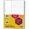 Marbig Plastic Divider A4 Indices A-Z Grey