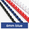 REXEL BINDING COMB 6mm 21Loop 25Sht Cap Blue Pack of 100