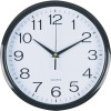 Italplast Wall Clock 30cm Round With Large Numbers Black Frame White Face
