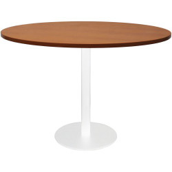 RAPIDLINE CIRCULAR MEETING TABLE 600mm Dia DISC BASE Cherry with White Satin