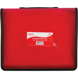 Stat A4 2R Zipper Binder with Handle 25mm Red