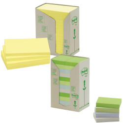 POST-IT 654-RTY NOTES TOWERS Recycled Yellow 73X73mm Pack of 16