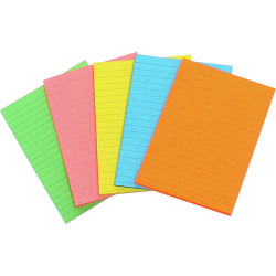 MARBIG WRITING PAD FLURO A6 Assorted 40 Leaf Pack of 10