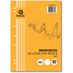 VICTORY REINFORCED REFILLS A4 Plain 7Hole 50Leaf Pack of 50