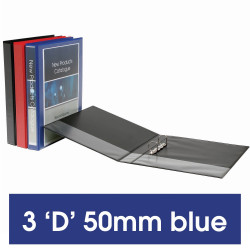 Marbig Clearview Insert Binder A4 3D Ring 50mm Blue