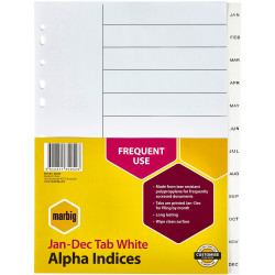 MARBIG ALPHABETICAL INDICES A4 PP Jan-Dec White Includes 12 Tabs