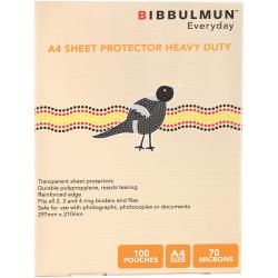 BIBBULMUN SHEET PROTECTORS A4 Heavy Duty Pack of 100