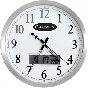 Carven Wall Clock 35cm LCD Calendar Aluminium Frame