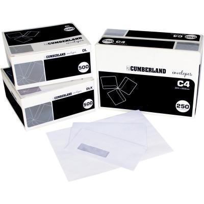 CUMBERLAND LASER ENVELOPE StripSeal C4 Pocket 324x229mm Secretive Plain Box of 250