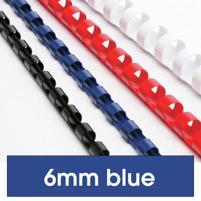 REXEL BINDING COMB 6mm 21Loop 25Sht Cap Blue Pack of 100