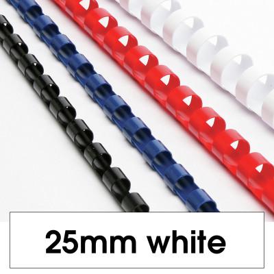 REXEL BINDING COMB 25mm 21 Loop 225Sht Cap White Pack of 50